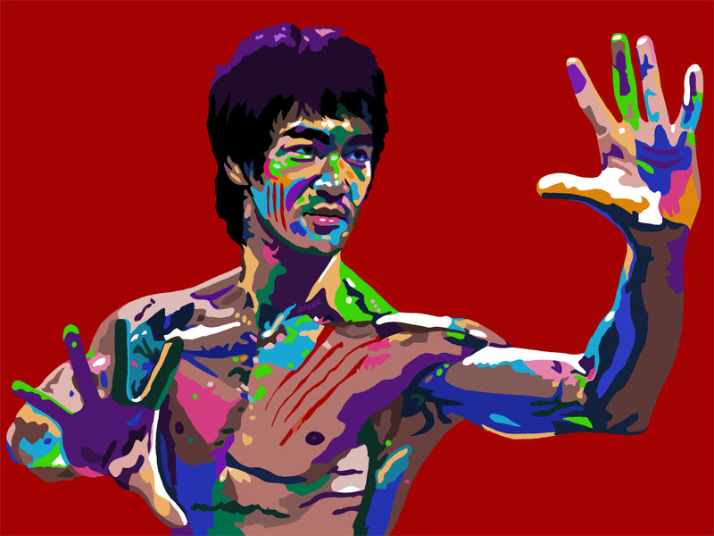 Vakseen Art - The Dragon - Bruce Lee Portrait - Limited Edition Giclee Art Print & Wall Decor