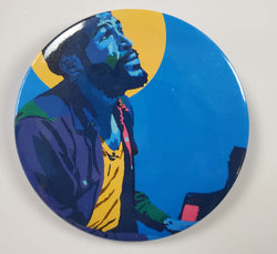 "WHAT'S GOIN ON (HALO) - MARVIN GAYE 3"" BUTTONS - CUSTOM POP ART BUTTONS FOR FASHION APPAREL"