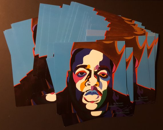 Sicker Than Yer Average - Biggie portrait art - Custom Art Stickers for Laptops & Walls - Vakseen Art