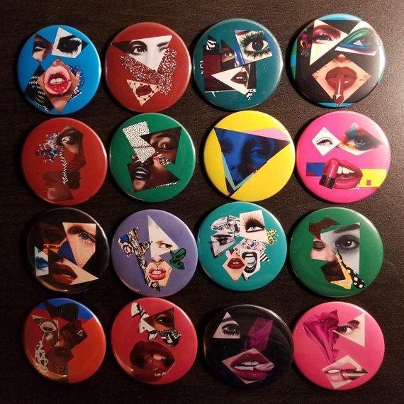 Vakseen Art - Vanity Pop Art Buttons - Limited Edition Custom Pop Art Buttons w/Pins/Pinback Buttons/Badges for Fashion Apparel - 2.25 in. size
