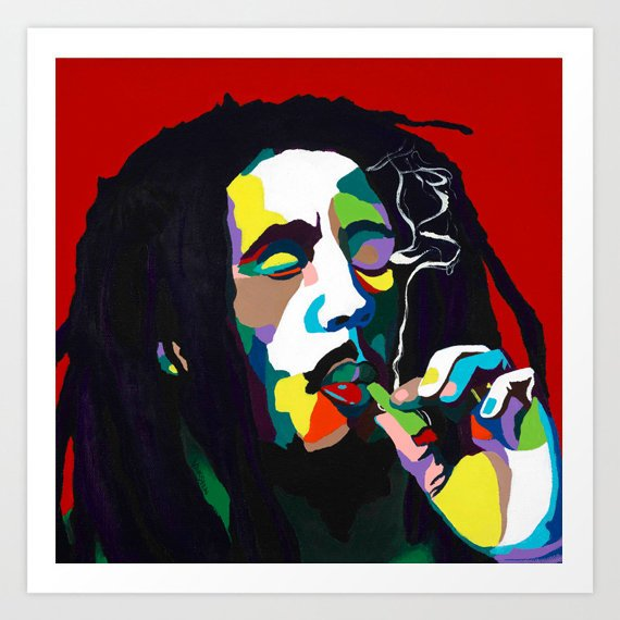 Vakseen Art - Burnin Bob - Bob Marley portrait art - Limited Edition Giclee Art Prints & Wall Decor
