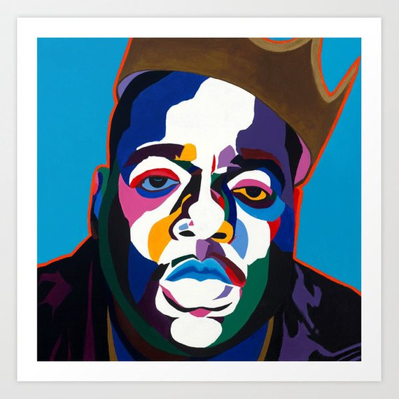 Biggie portrait art - Limited Edition Giclee Art Print - Vakseen Art