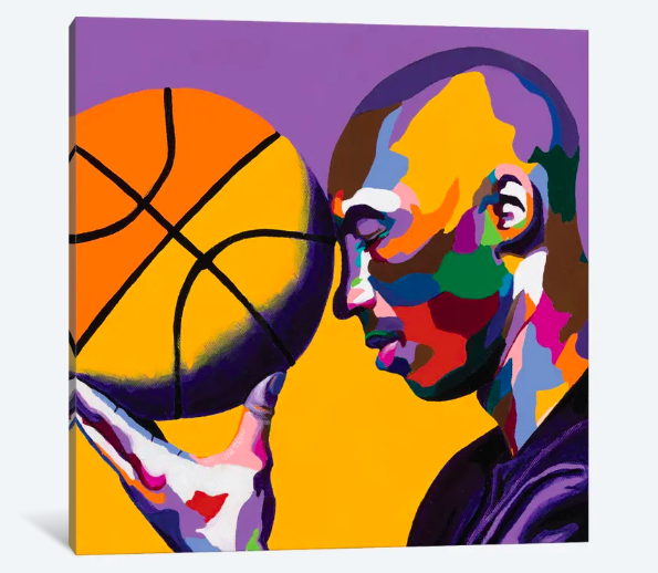 One With the Game - Kobe Bryant portrait art - Canvas Art Prints - Vakseen Art