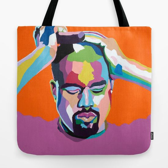 Kanye West portrait art - Tote Bag - Custom Bags & Apparel - Vakseen Art
