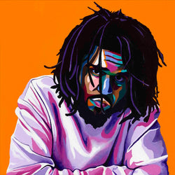 Vakseen Art - Cole World - J. Cole Art - Original 24x24 inch Acrylic Painting & Wall Decor