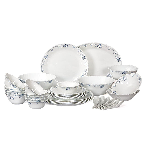 Cello Imperial Dainty Blue Opalware Dinner Set, 36 Pieces, White