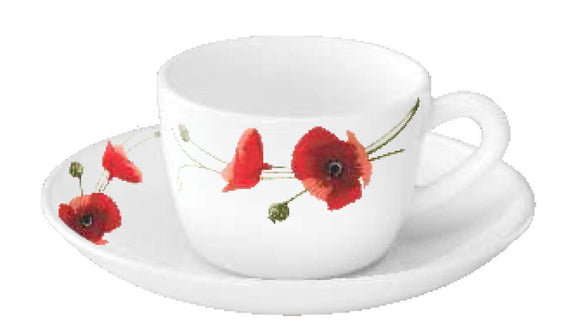 Larah by BOROSIL Opalware Cup And Saucer - 12 Pieces, Carnation Red