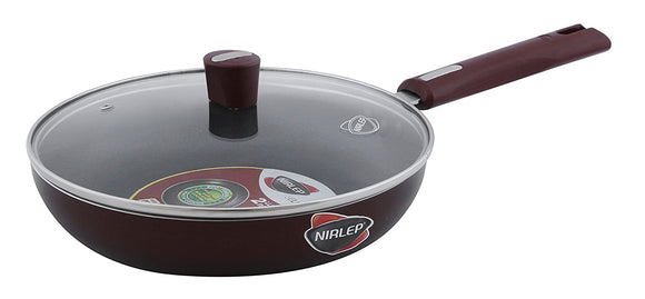 Nirlep by Bajaj Electricals Selec+ J Class 22 Cm Non Stick Fry Pan with Lid, 3 mm