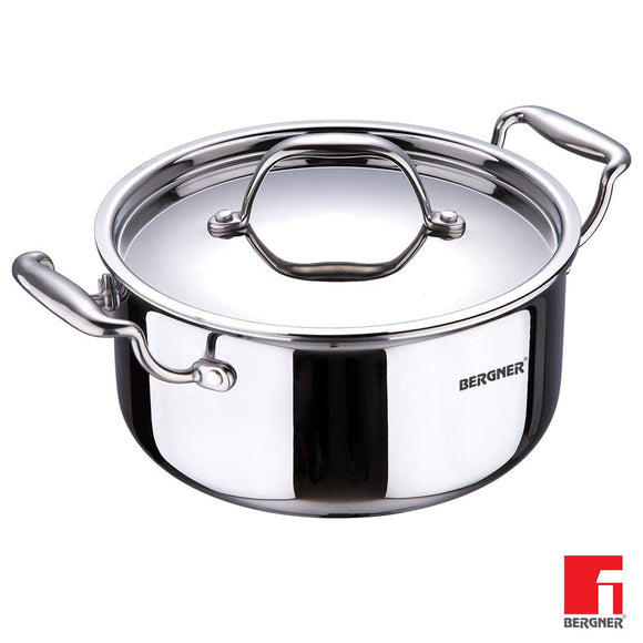 BERGNER Steel Induction Base Argent Triply Casserole With Lid,24 Cm,5.3 Litres, Silver