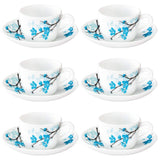 Larah by Borosil Mimosa (LH) Cup and Saucer Set, 140ml, 12-Pieces, White and Blue