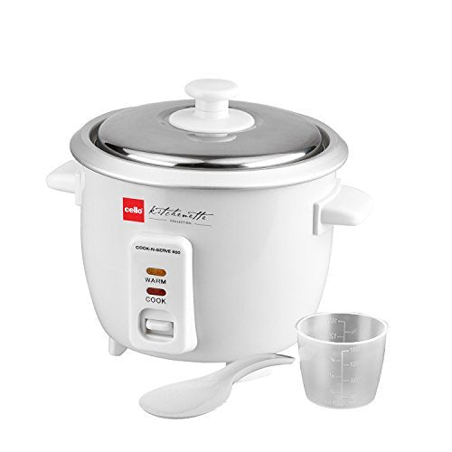 Cello Cook -N-Serve CNS-500 540-Watt Rice Cooker (Black and White)