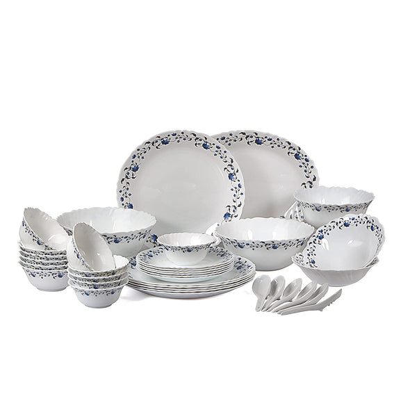 Cello Imperial Vinea Opalware Dinner Set, 36 Pieces, White
