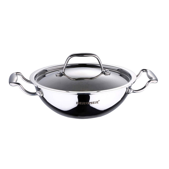 BERGNER - BG-6348 Argent Triply Stainless Steel Kadhai with Stainless Steel Lid, 26 cm, 3.5 Liters, Induction Base, Silver…