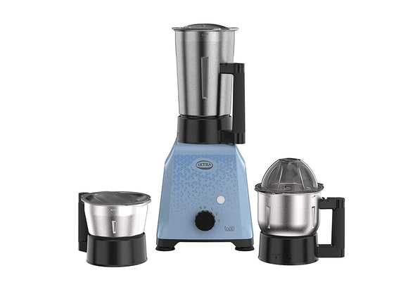 ULTRA TOPP 750W 3 JAR MIXER GRINDER with INTERCHANGEABLE FLAT and DOME LIDS ( Baby Blue )