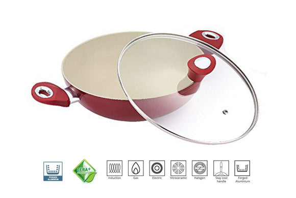Bergner Allure Forged NonStick Aluminium Ceramic Coating kadai, Frypan with 2 Handle and Glass Lid, 4.9 litres, Set of 1 (Red & White)