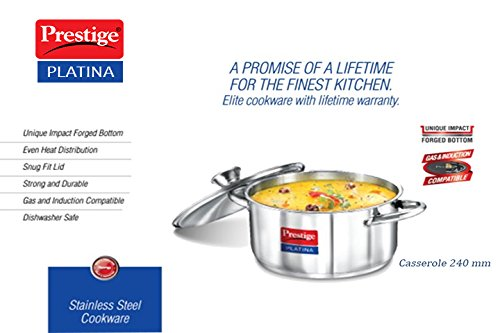 Prestige Platina Induction Base Stainless Steel Casserole, 240mm/5.5 litres, Metallic Steel
