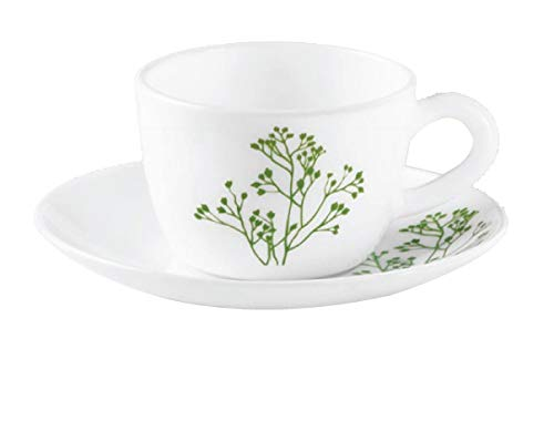 LaOpala Opalware Glass Cup and Saucer Set, 12 Pcs Set (Blissfull Green)