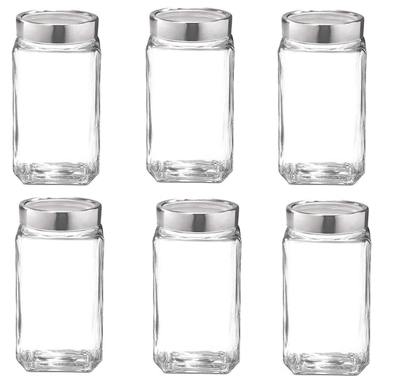 Treo Cube Jar 1200Ml Set of 6 Glassware Container/Jar