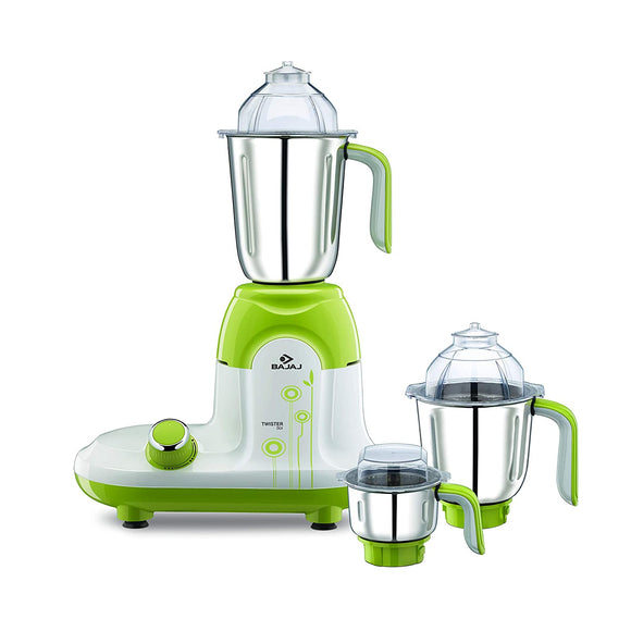 Bajaj Twister Deluxe 750-Watt Mixer Grinder with 3 Jars (White)