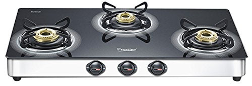 Prestige Royale Plus Glass Top 3 Burner Gas Stove,Manual Ignition, GT 03 L SS