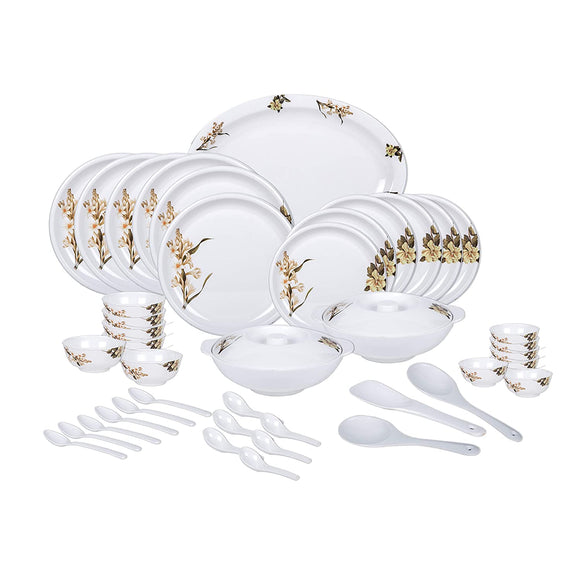 Vama Melamine Dinner Set - 44 Pieces, White & Brown