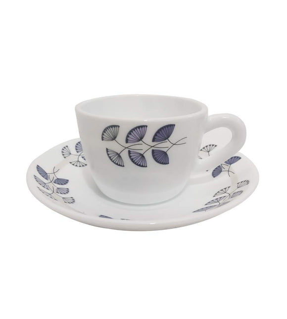 Larah by Borosil Opalware Glass Cup and Saucer Set, 12 Pcs Set (Floret)