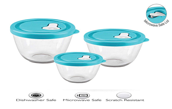 Cello Ornella with Lid Toughened Glass Mixing Bowl Set of 3 (500ml,1000ml,1500ml)