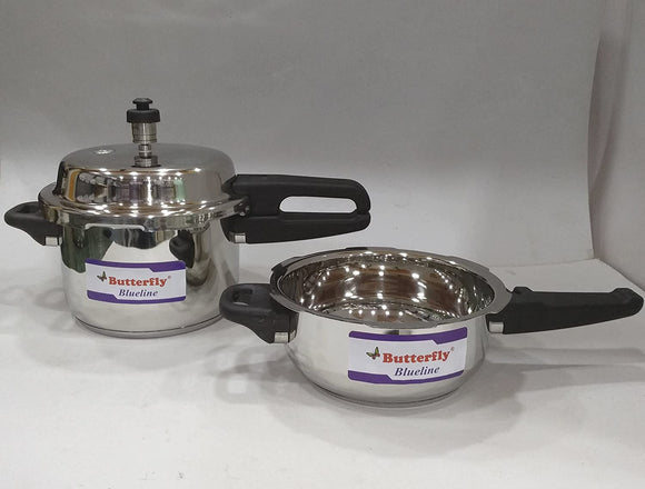 Butterfly Stainless Steel Pressure Cooker (Silver, 3 L) - Pack of 2