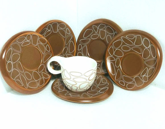 Hi-Luxe Digital Printed Cup & Saucer, Brown , Set of 6