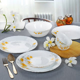 Cello Imperial Frangipani Opalware Dinnerware Set, 19-Pieces, White