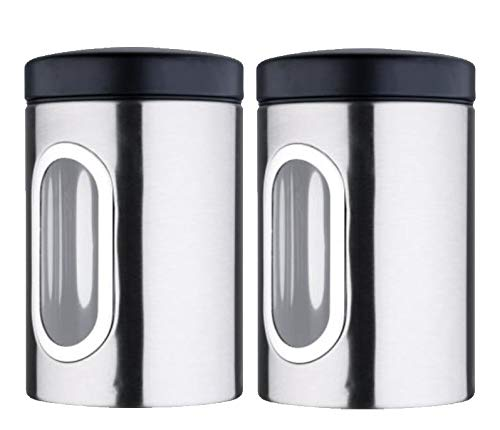 Bergner Tidy Home Stainless Steel Kitchen Storage Canister, Set of 2 (1.1 LTR), Silver