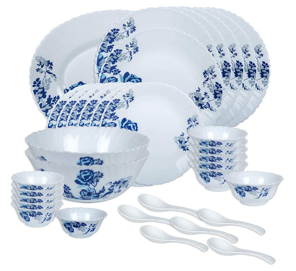 Larah by BOROSIL Opalware Glass Dinner Set - 33 Pieces, White & Blue