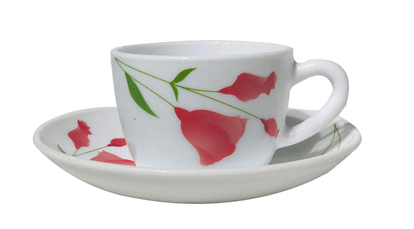 Larah by Borosil Opalware Glass Cup and Saucer Set, 12 Pcs Set (Diana)