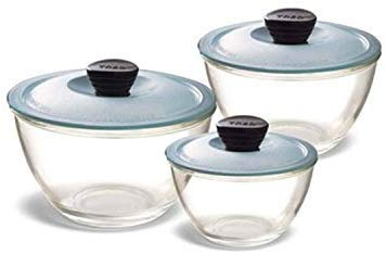 Treo by Milton Glass Mixing Bowl Set, 3-Pieces, Transparent