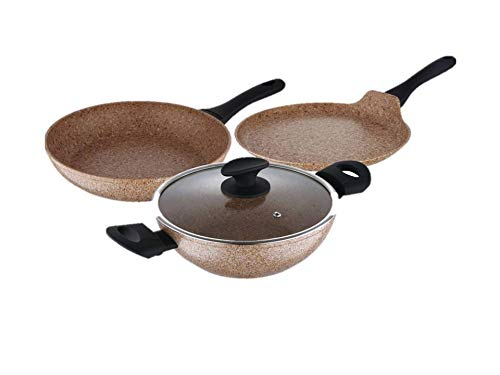 Bergner 4pc Forged Granite Coating Cookware Set (Brown)
