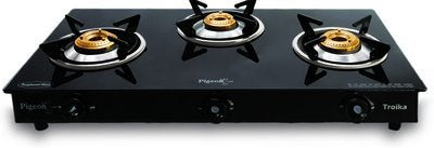 Pigeon Troika 3 Burner Glass Top Gas Stove, Black