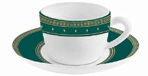 Cello Zarah Platini Opalware 6 Pcs Cup & 6 Pcs Saucer Set (Green Emerald)