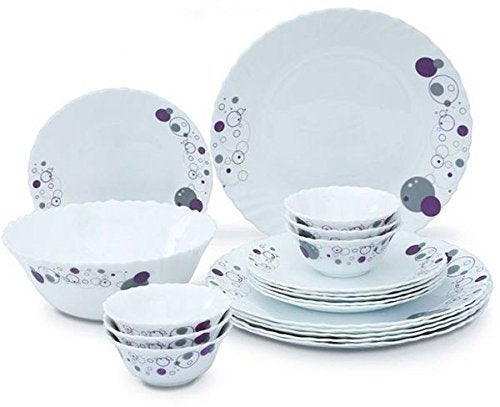 LaOpala Haze Dinner Set, 33-Pieces, White/Purple