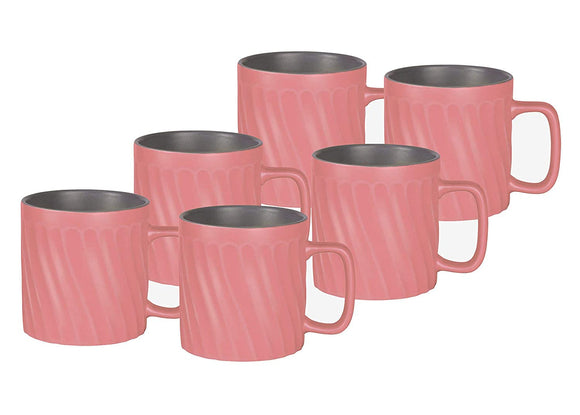 Treo by Milton Ripple Ceramic Mug Set of 6, 230 ml, Pink