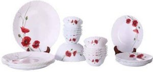 Larah By Borosil Red Carnation Opalware Dinner Set, 19-Pieces, White