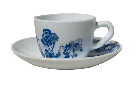 Larah by BOROSIL Glass Opalware Cup And Saucer Set - 12 Pieces, Blue