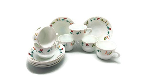 Larah Opalglass Minerva Cup & Saucer set, 104ml, 12-pieces, Multicolour