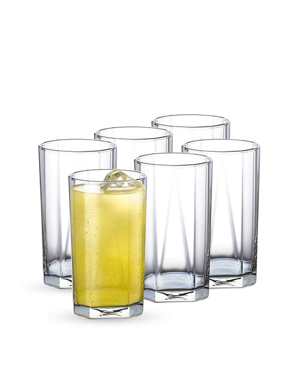 Ocean Pyramid Hi Ball Glass, Transparent,300ml, Set of 6