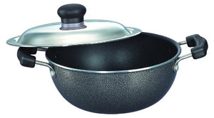 Prestige Omega Select Plus Non-Stick Flat Base Kadai with Lid, 27cm, Black