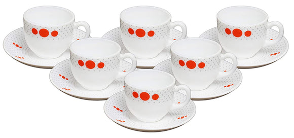 Cello Copa Opalware Cup Saucer Set, 12 Pcs (Polka Drops)