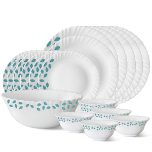 Larah By Borosil Blue Leaves Opalware Dinner Set , 19 Pieces
