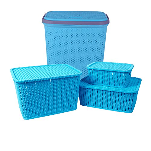 IncredibleThings Laundry Basket with lid and 3 Pc Storage Baskets with Lid Combo, Blue