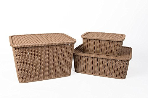 IncredibleThings Storage Basket with Lid (Set of 3) Beige