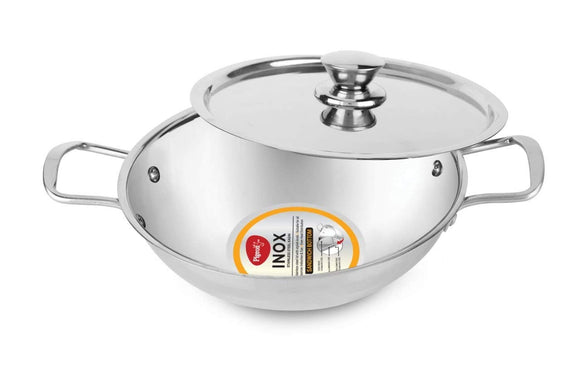 Pigeon Inox 20 cm Stainless Steel Kadai with Lid, Small