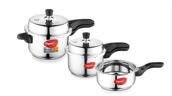 Pigeon by Stoverkraft Stainless Steel Sandwich Induction Bottom Pressure Cooker Combo (Silver, 2L, 3L and 5L) Pack of 3 Pcs